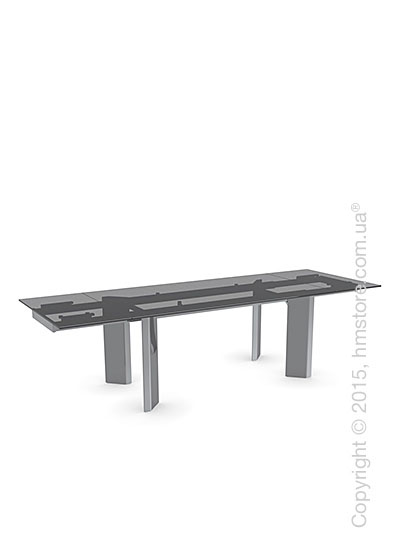 Стол Calligaris Tower, Glass and metal extending table, Frosted tempered glass smoked grey and Metal chromed