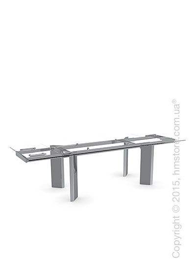 Стол Calligaris Tower, Glass and metal extending table, Tempered glass transparent extraclear and Metal chromed