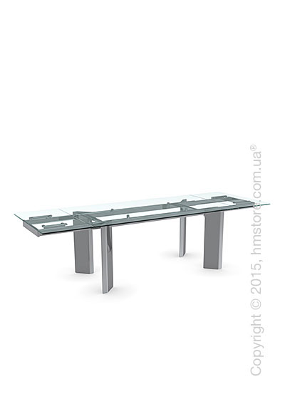 Стол Calligaris Tower, Glass and metal extending table, Tempered glass transparent and Metal chromed