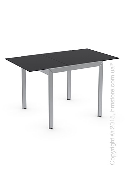 Стол Calligaris Key, Square extending table, Frosted tempered glass black and Metal chromed