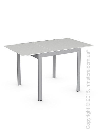 Стол Calligaris Key, Square extending table, Frosted acid etched tempered glass extrawhite and Metal matt silver