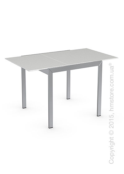 Стол Calligaris Key, Square extending table, Frosted acid etched tempered glass extrawhite and Metal chromed