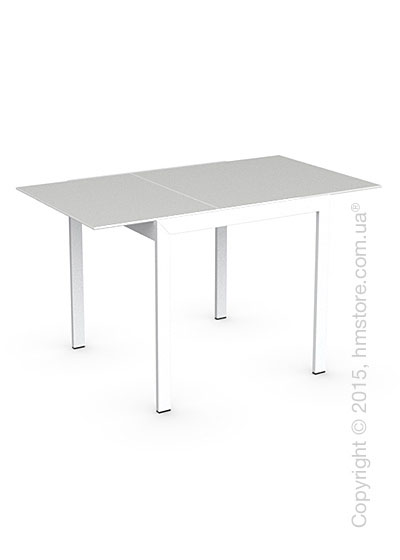Стол Calligaris Key, Square extending table, Frosted acid etched tempered glass extrawhite and Metal matt optic white
