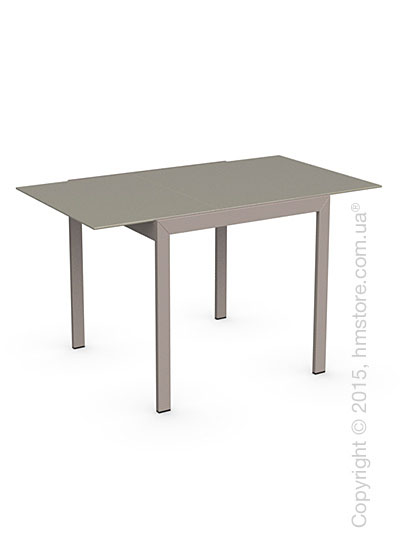 Стол Calligaris Key, Square extending table, Frosted tempered glass taupe and Metal matt taupe