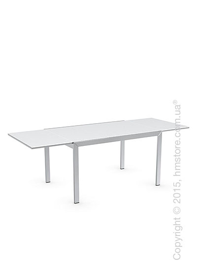Стол Calligaris Key, Rectangular extending table, Frosted tempered glass extrawhite and Metal chromed