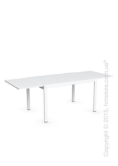 Стол Calligaris Key, Rectangular extending table, Frosted tempered glass extrawhite and Metal matt optic white