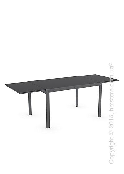 Стол Calligaris Key, Rectangular extending table, Frosted tempered glass black and Metal matt black