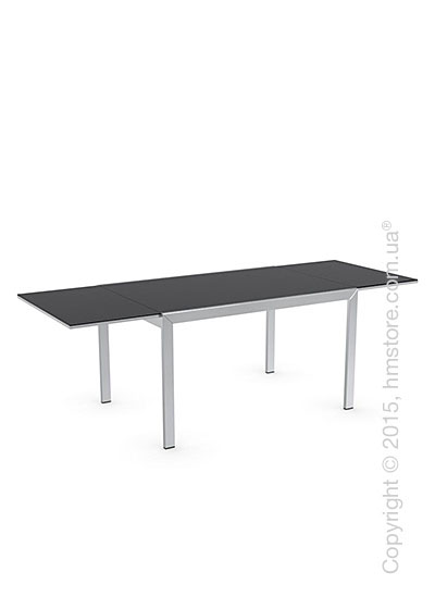 Стол Calligaris Key, Rectangular extending table, Frosted tempered glass black and Metal chromed