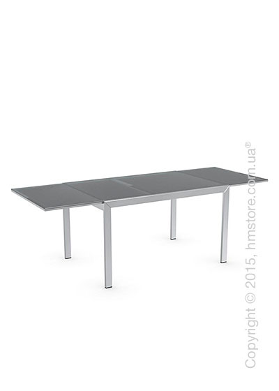 Стол Calligaris Key, Rectangular extending table, Frosted tempered glass neutral and Metal chromed