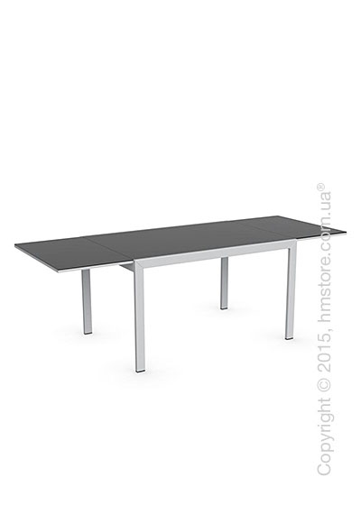 Стол Calligaris Key, Rectangular extending table, Frosted acid etched tempered glass black and Metal matt silver