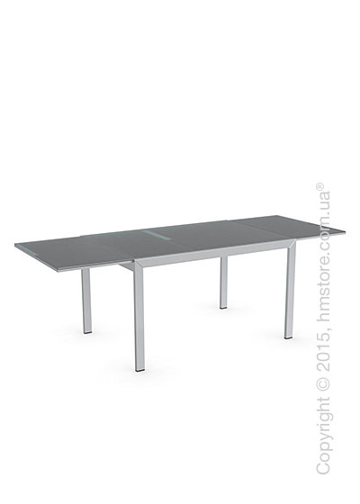 Стол Calligaris Key, Rectangular extending table, Frosted tempered glass neutral and Metal satin steel