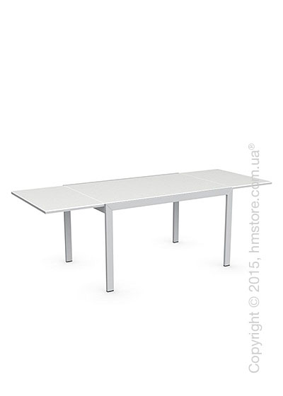 Стол Calligaris Key, Rectangular extending table, Frosted acid etched tempered glass extrawhite and Metal matt silver