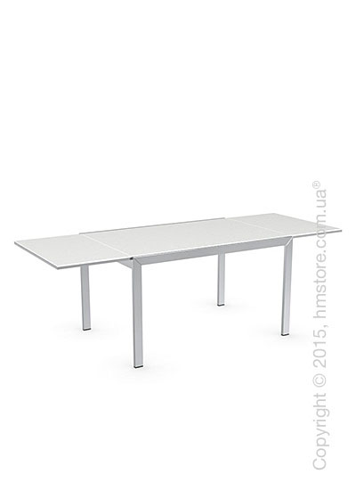 Стол Calligaris Key, Rectangular extending table, Frosted acid etched tempered glass extrawhite and Metal chromed