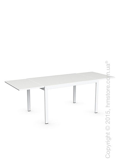 Стол Calligaris Key, Rectangular extending table, Frosted acid etched tempered glass extrawhite and Metal matt optic white