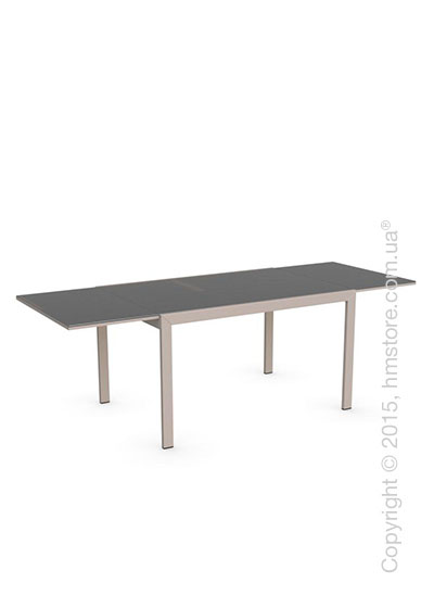 Стол Calligaris Key, Rectangular extending table, Frosted tempered glass taupe and Metal matt taupe