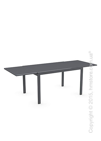 Стол Calligaris Key, Rectangular extending table, Frosted acid etched tempered grey and Metal matt grey