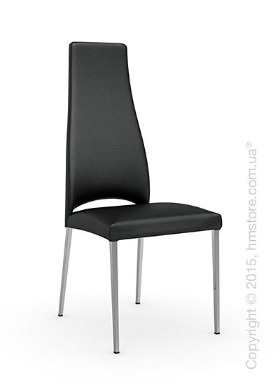 Стул Calligaris Juliet, Metal chair with upholstered seat, Metal chromed and Gummy coating black