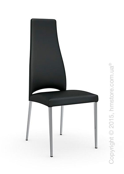 Стул Calligaris Juliet, Metal chair with upholstered seat, Metal chromed and Leather black