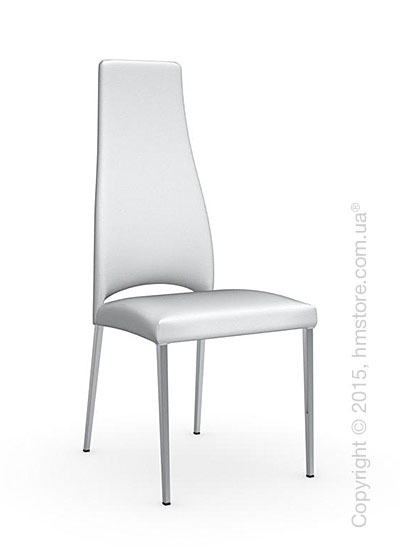 Стул Calligaris Juliet, Metal chair with upholstered seat, Metal chromed and Leather optic white