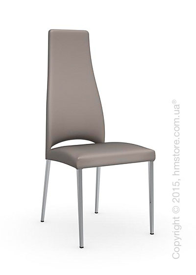 Стул Calligaris Juliet, Metal chair with upholstered seat, Metal chromed and Gummy coating taupe