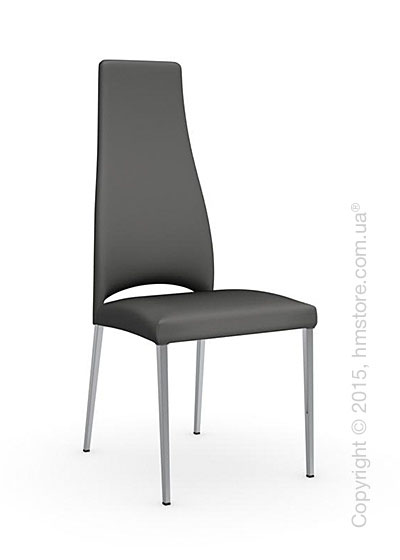Стул Calligaris Juliet, Metal chair with upholstered seat, Metal chromed and Leather taupe