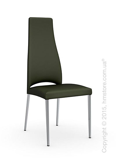 Стул Calligaris Juliet, Metal chair with upholstered seat, Metal chromed and Leather olive green