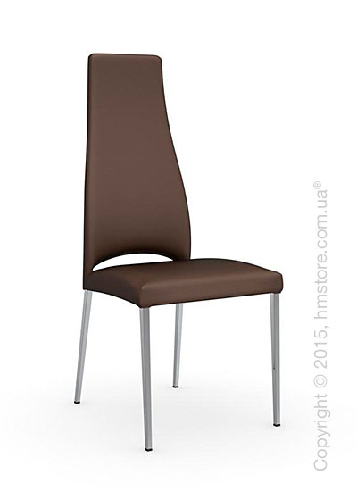 Стул Calligaris Juliet, Metal chair with upholstered seat, Metal chromed and Leatherantilope brown