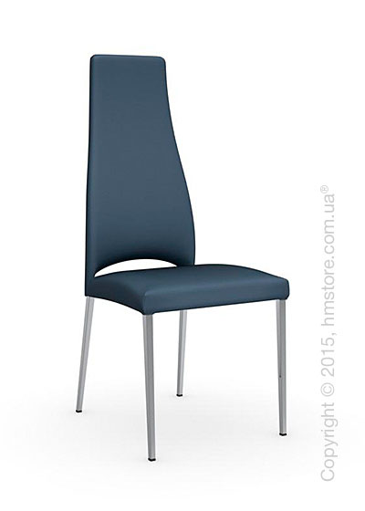 Стул Стул Calligaris Juliet, Metal chair with upholstered seat, Metal chromed and Leatherarctic blue