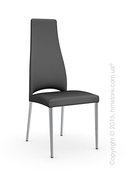 Стул Calligaris Juliet, Metal chair with upholstered seat, Metal chromed and Leathergrey