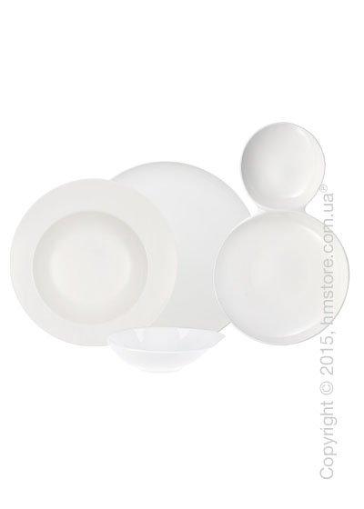 Набор фарфоровой посуды Villeroy & Boch коллекция Flow на 2 персоны, 7 предметов