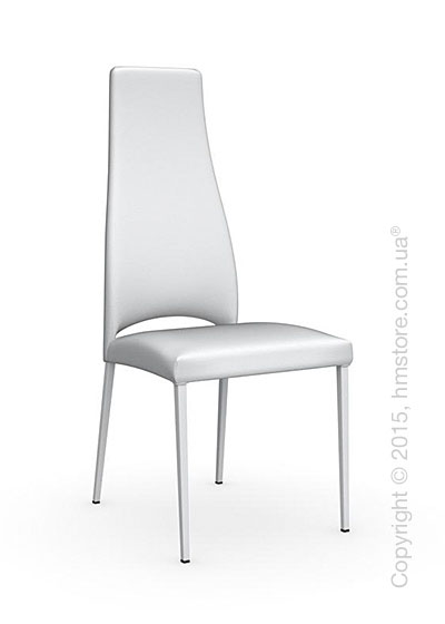 Стул Calligaris Juliet, Metal chair with upholstered seat, Metal matt optic white and Gummy coating optic white