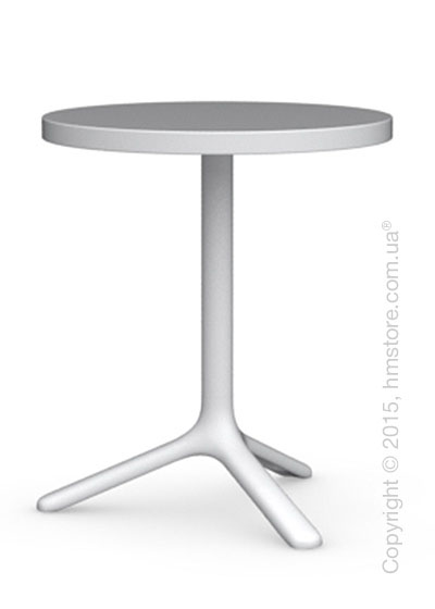 Стол Calligaris Area T, Round bar table, Laminated matt optic white and Metal matt optic white