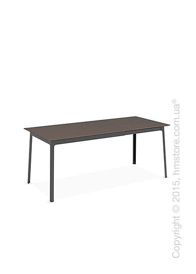 Стол Calligaris Dot, Rectangular extending table, Melamine multistripe soil brown and Metal matt black