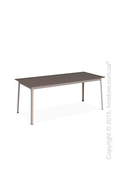 Стол Calligaris Dot, Rectangular extending table, Melamine multistripe soil brown and Metal matt taupe