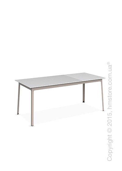 Стол Calligaris Dot, Rectangular extending table, Melamine matt white and Metal matt taupe