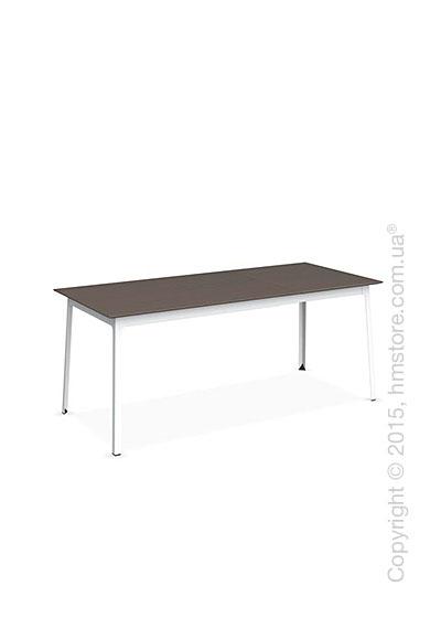 Стол Calligaris Dot, Rectangular extending table, Melamine multistripe soil brown and Metal matt optic white