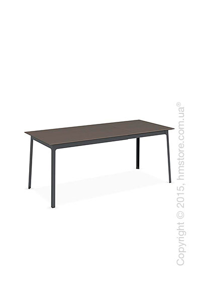 Стол Calligaris Dot, Rectangular extending table, Melamine multistripe soil brown and Metal matt grey