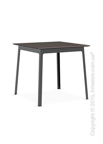 Стол Calligaris Dot, Square wood and metal table, Melamine multistripe soil brown and Metal matt black