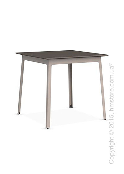 Стол Calligaris Dot, Square wood and metal table, Melamine multistripe soil brown and Metal matt taupe