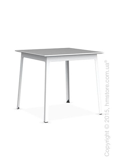Стол Calligaris Dot, Square wood and metal table, Melamine multistripe silk and Metal matt optic white