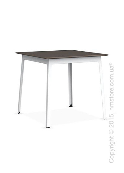 Стол Calligaris Dot, Square wood and metal table, Melamine multistripe soil brown and Metal matt optic white