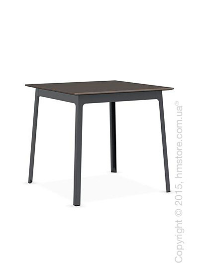 Стол Calligaris Dot, Square wood and metal table, Melamine multistripe soil brown and Metal matt grey