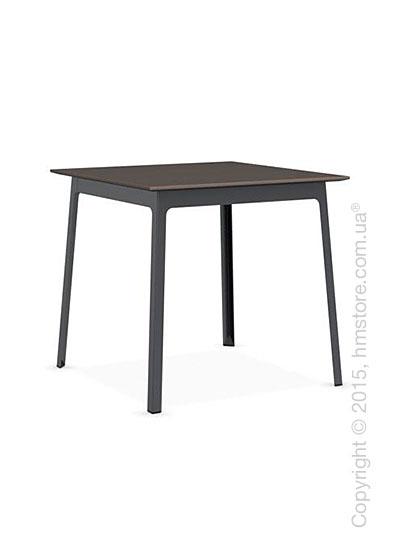 Стол Calligaris Dot, Square wood and metal table, Melamine multistripe soil brown and Metal matt grey