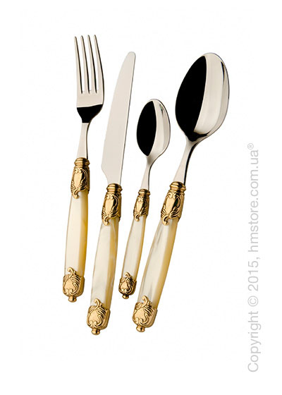 Набор столовых приборов Bugatti Rococo коллекция Gold-plated Ring на 12 персон, 50 предметов, Ivory