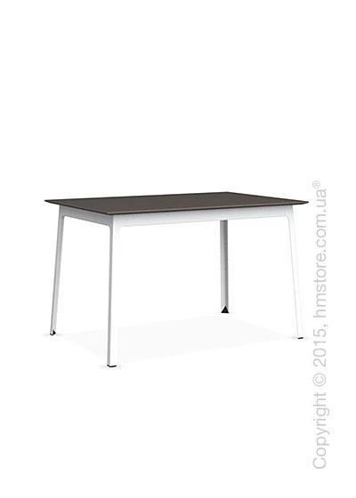 Стол Calligaris Dot, Rectangular wood and metal table, Melamine multistripe soil brown and Metal matt optic white
