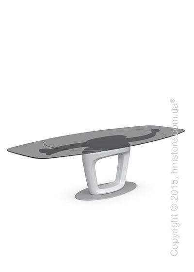 Стол Calligaris Orbital, Design extending table, Frosted tempered glass smoked grey and Lacquered glossy optic white