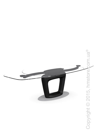 Стол Calligaris Orbital, Design extending table, Tempered glass transparent extraclear and Lacquered matt black