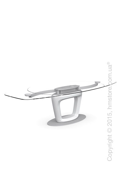 Стол Calligaris Orbital, Design extending table, Tempered glass transparent extraclear and Lacquered glossy optic white