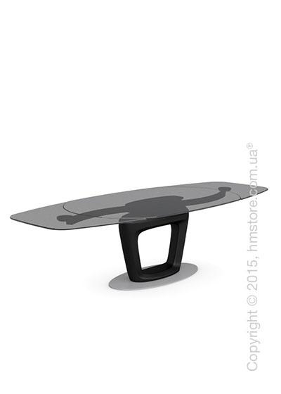 Стол Calligaris Orbital, Design extending table, Frosted tempered glass smoked grey and Lacquered matt black