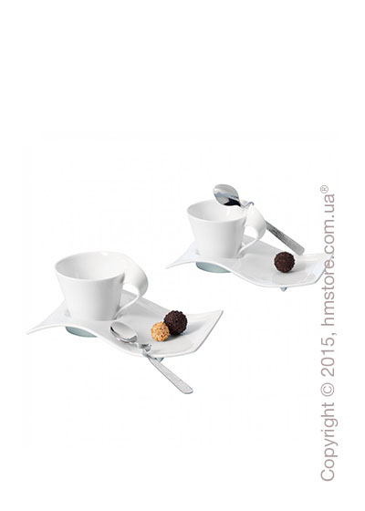 Набор кофейных чашек с блюдцами и ложками Villeroy & Boch коллекция New Wave на 2 персоны, 6 предметов